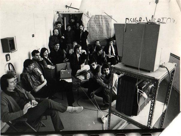 Dziga Vertov Akademie dffb Berlin 1968. Wolfgang Petersen, Harun Farocki, Holger Meins und Gerd Conradt u.a.